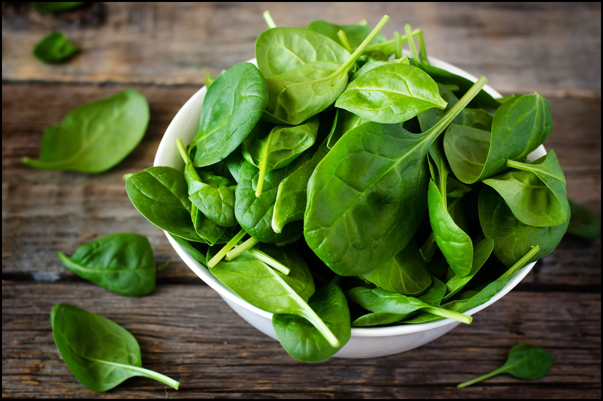 spinach-in-the-bowl-on-the-dark-wood-background